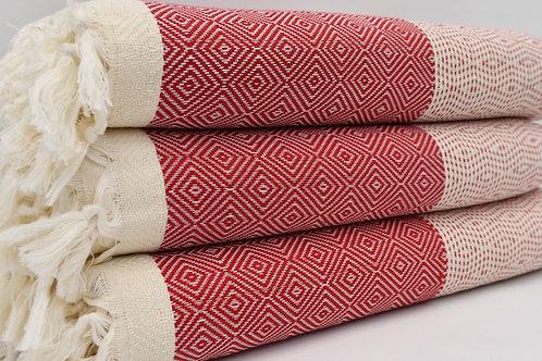 Pure Cotton Turkish Red Diamond Bedspread, Beach Blanket, Throws