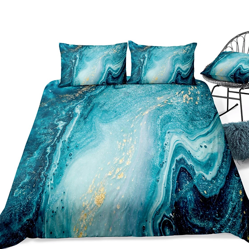 Marble Gold and Turquoise Design 3 Piece Duvet Set