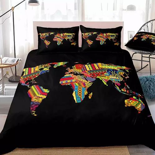 African Map Design 3 Piece Duvet Set