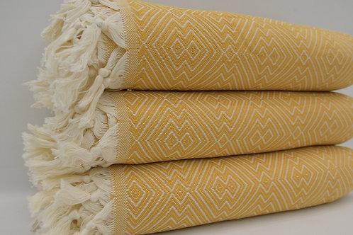 Pure Organic Cotton Turkish Yellow Throw Aztec King Blanket