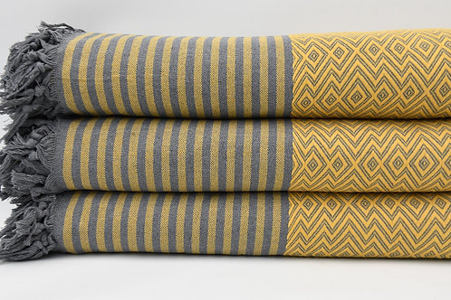 Pure Cotton Turkish Yellow Throw Aztec King Blanket