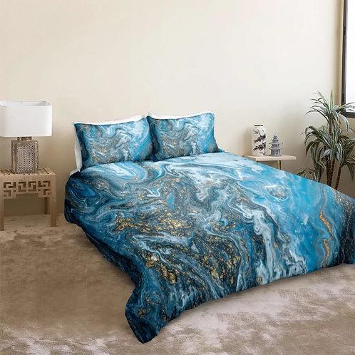Marble Blue and Light Blue Design 3 Piece Duvet Set