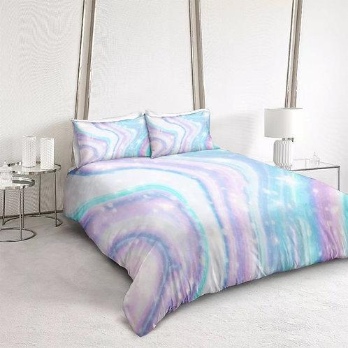 Marble Purple Blue Design 3 Piece Duvet Set