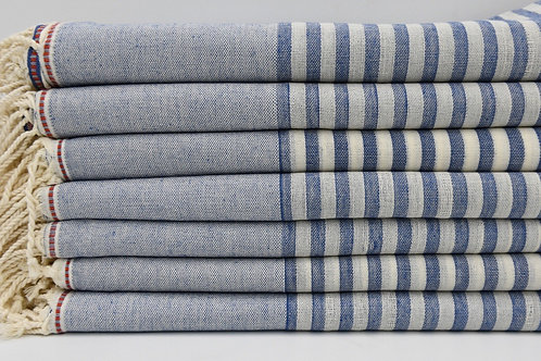 Pure Cotton Turkish Blue Peshtemal Towel Blanket