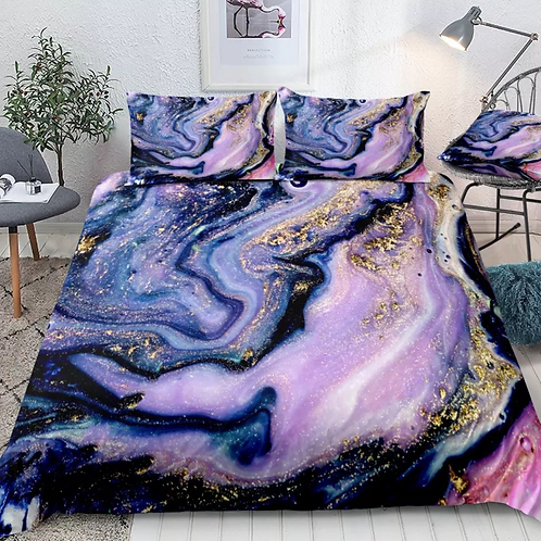 Marble Gold and Purple Design 3 Piece Duvet Set