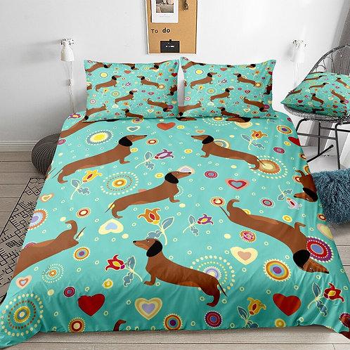 Dachshund Turquoise Floral Design 3 Piece Duvet Set