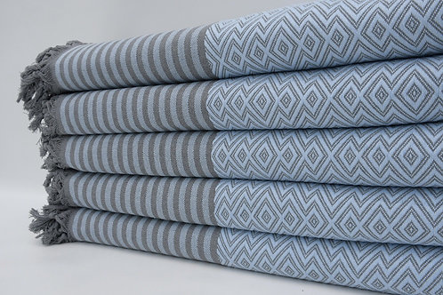 Pure Cotton Turkish Navy Blue Throw Aztec King Blanket