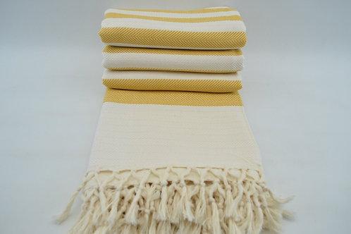 Pure Bamboo Yellow Cream Turkish Throw Blanket