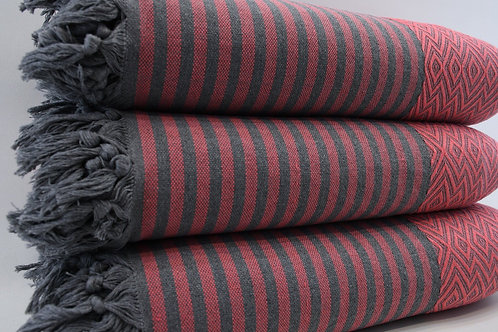 Pure Cotton Red Turkish Throw Aztec King Blanket