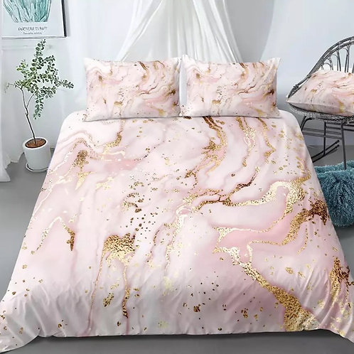 Marble Gold Blue Pink Quicksand Design 3 Piece Duvet Set