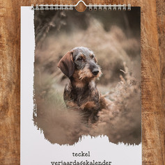 Verjaardagskalender met foto's van teckels