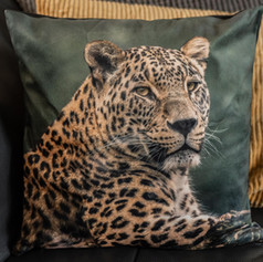 Pluche kussen met de afbeelding van een luipaard