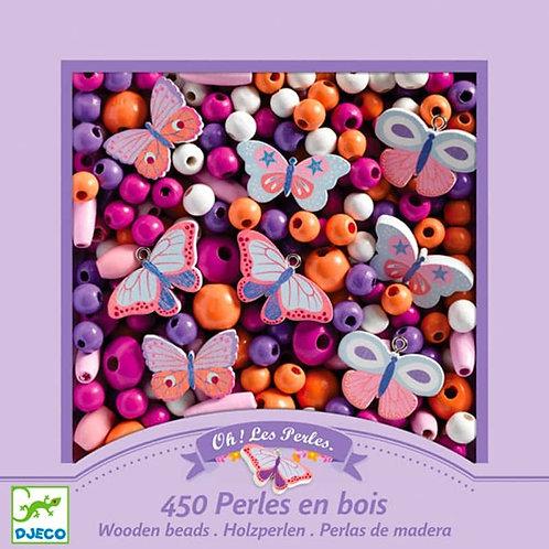 450 Perles en bois Papillons - Djeco