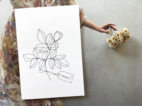 Carte postale 'Merci (rose)' - Papillonnage