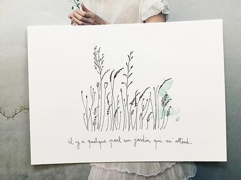 Carte postale 'Un jardin' - Papillonnage