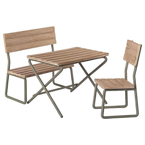 Ensemble de jardin, Table, chaise et banc - Maileg