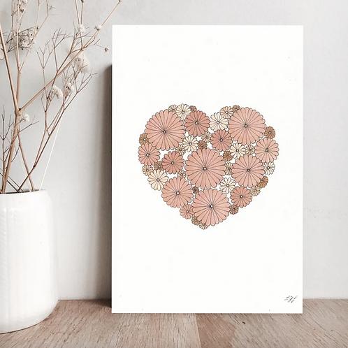 Carte Cœur rose  - Les Yeux Fripons
