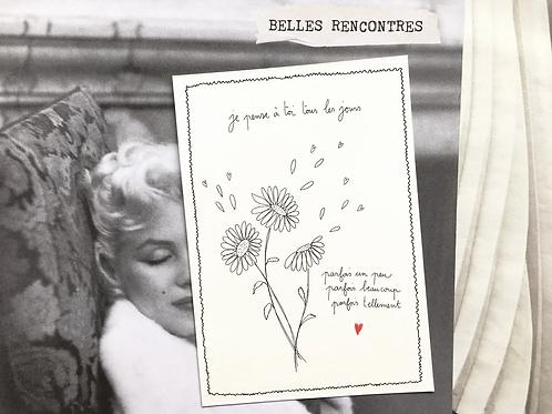 Carte postale 'Je pense à toi' - Papillonnage