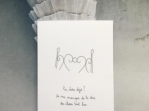 Carte postale 'Tu dors ?'