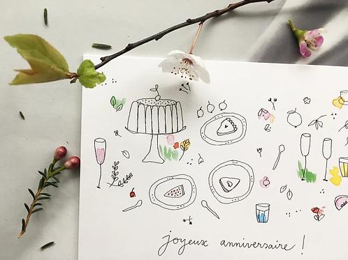 Carte postale 'Goûter d'anniversaire' - Papillonnage