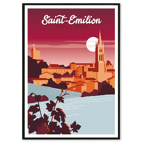 Affiche Saint-Émilion, Vignoble de Bordeaux - Les Affichistes