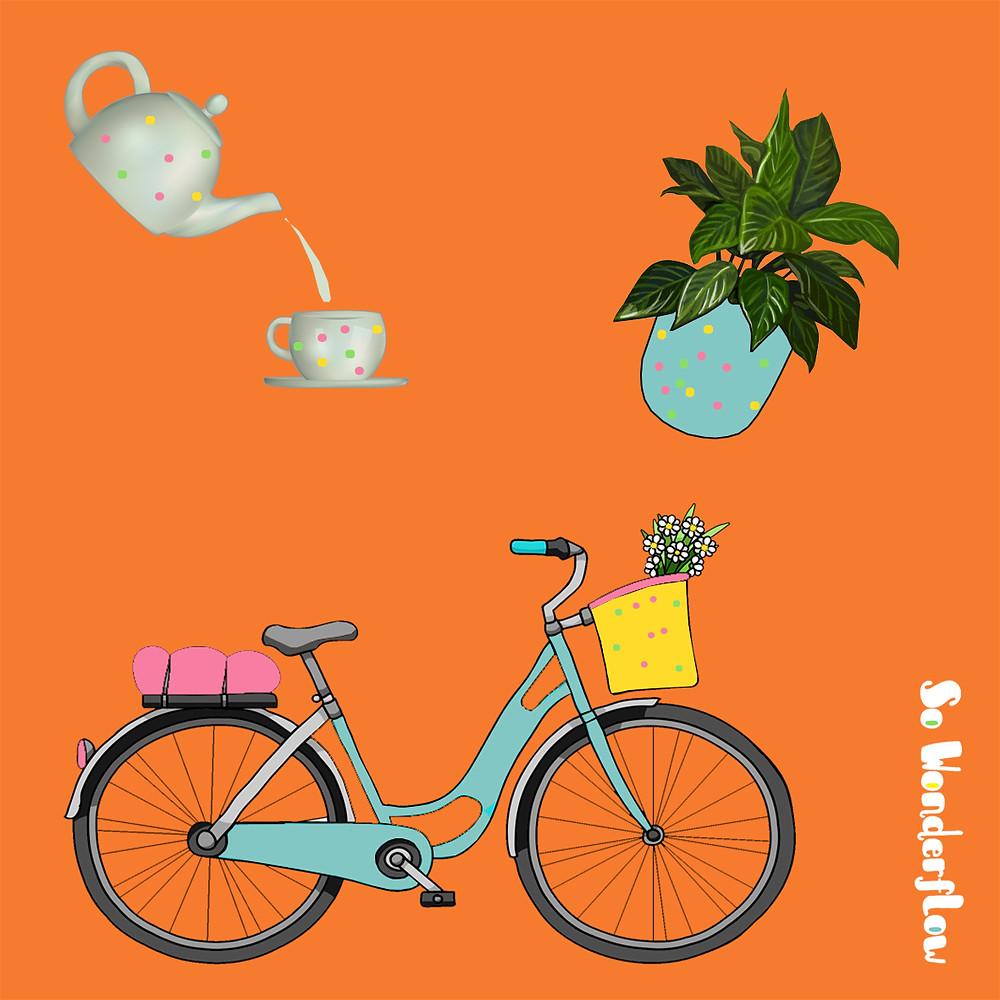 Vivre lagom : théière, plante, vélo...