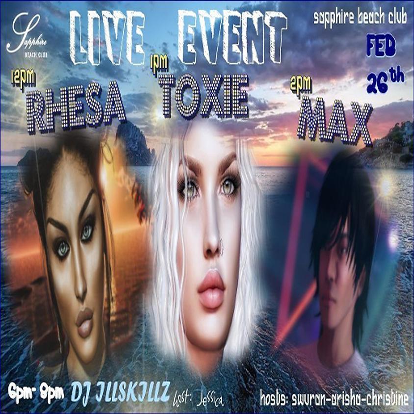 WEDNESDAY LIVE EVENTS AND PARTY/ RHESA & TOXIE & MAX KLEENE & DJ ILLSKILLZ