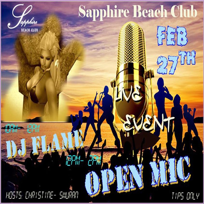 THURSDAY PARTY AT SAPPHIRE / DJ ARISHA FLAME & OPEN MIC/JAM