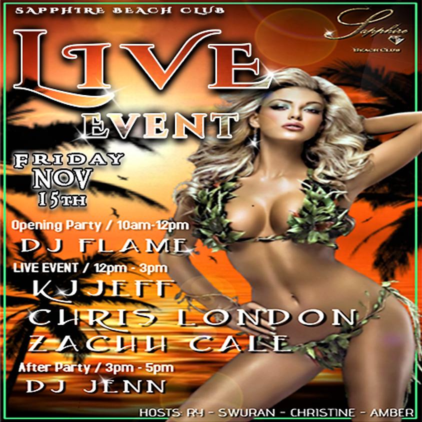 FRIDAY LIVE EVENTS & PARTY / KJJEFF& CHRIS LONDON & ZACHH CALE & DJ FLAME & DJ Jenn
