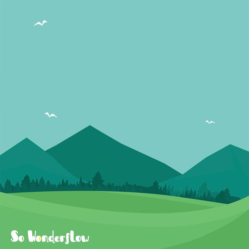 Colines, herbe, ciel bleu, oiseaux