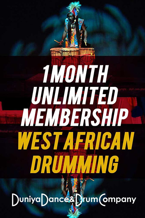 1 Month Unlimited West African Drumming Class Membership