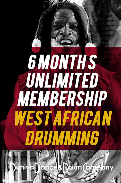 6 Month Unlimited West African Drumming Class Membership: $375 (save $75!)