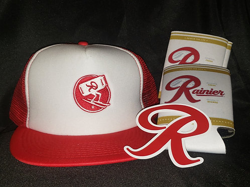 Rainier Hat, 2 Koozies & Sticker