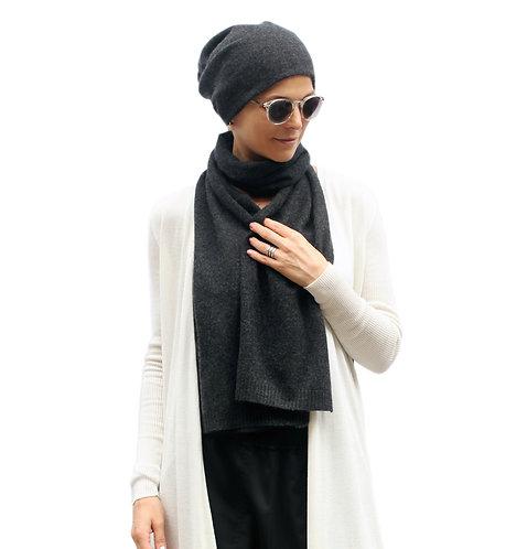 100% Cashmere Loose Beanie Hat Dark Grey