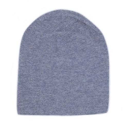 100% Cashmere Tight Beanie Hat Light Grey