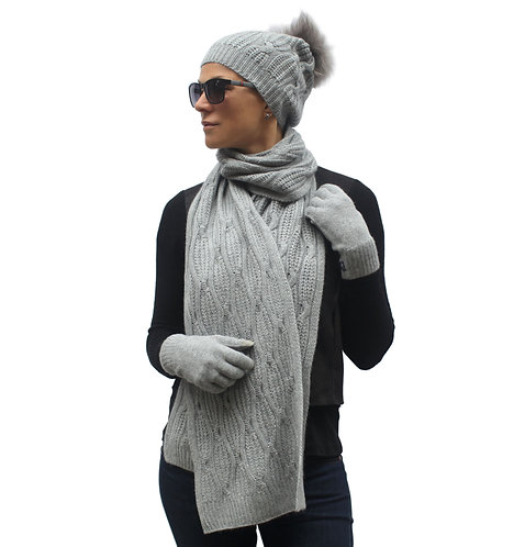 Hat Scarf Set for Women 100% Cashmere Grey