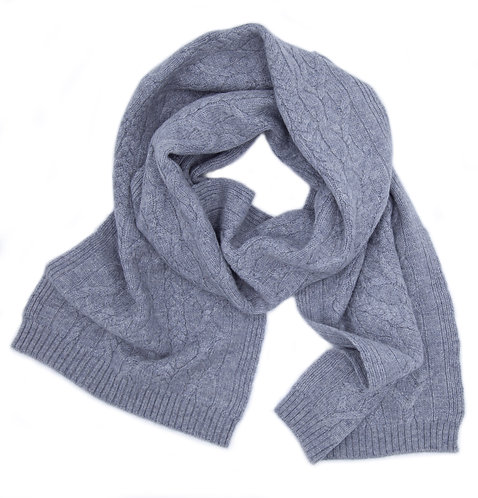 Warm Braided Pattern Cashmere Scarf Light Grey