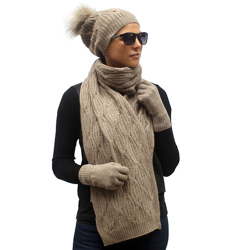 Hat Scarf Set for Women 100% Cashmere Brown