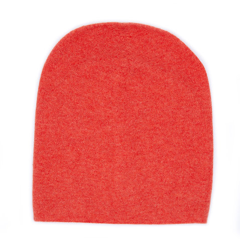 100% Cashmere Tight Beanie Hat Orange