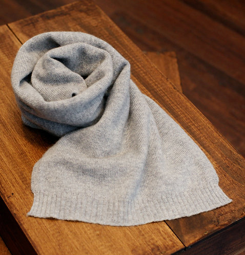 Thin 100% Cashmere Scarf Light Grey