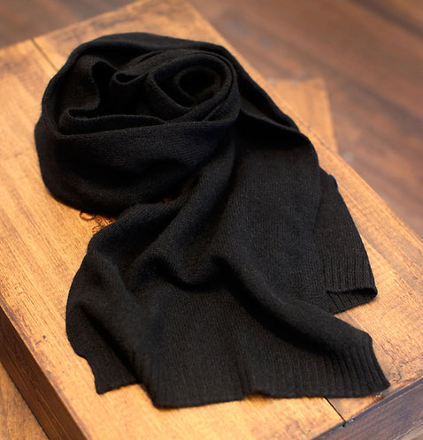Thin 100% Cashmere Scarf Black