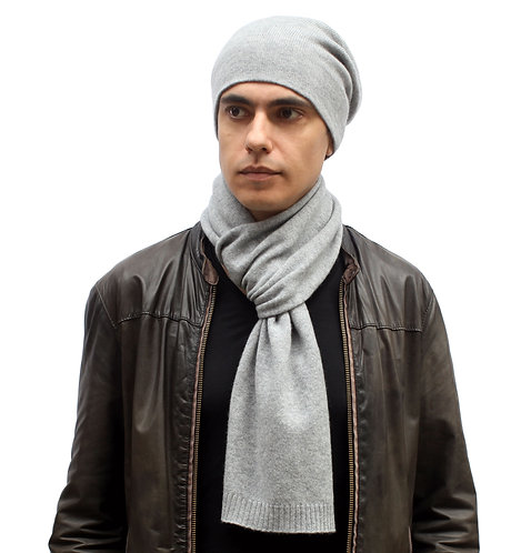 100% Cashmere Tight Beanie Hat Light Grey