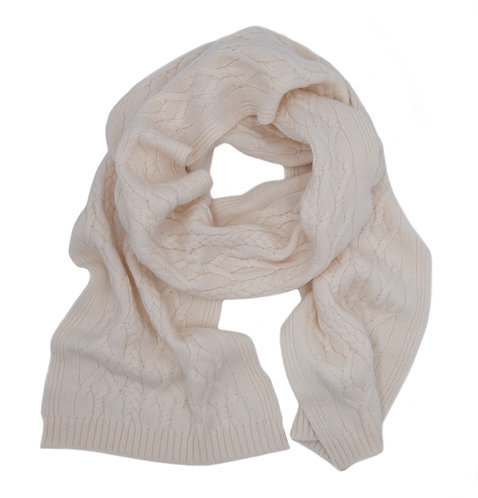 Warm Braided Pattern Cashmere Scarf White