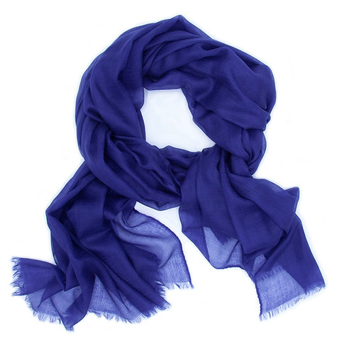 100% Cashmere Feather Light Scarf/Shawl Blue Ink