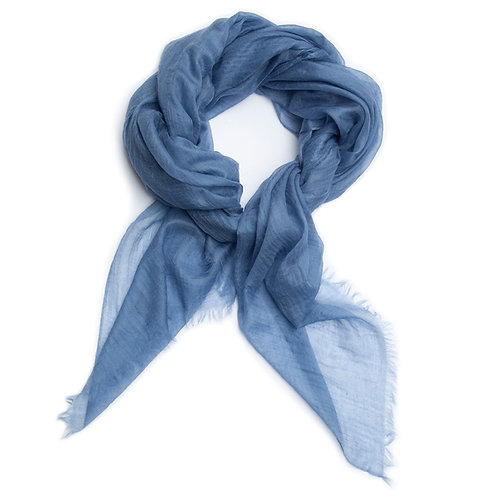 100% Cashmere Feather Light Scarf/Shawl Autumn Sky