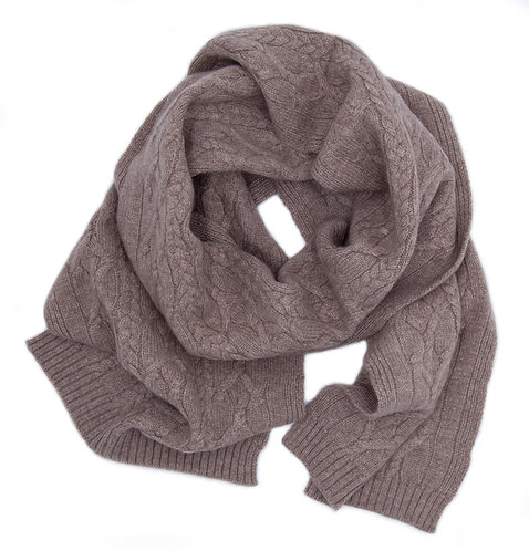 Warm Braided Pattern Cashmere Scarf Beige