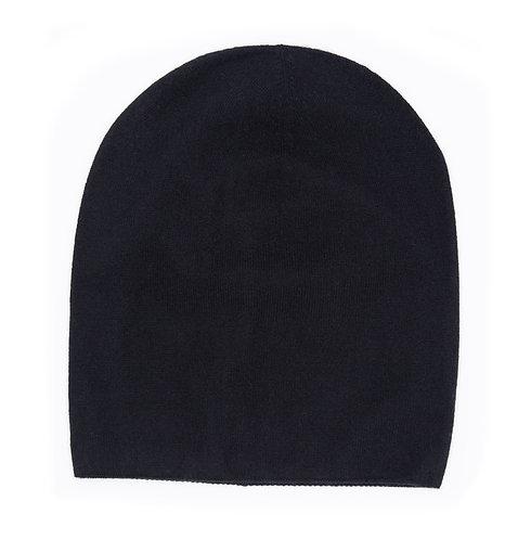 100% Cashmere Tight Beanie Hat Black
