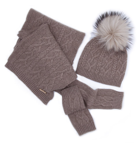 100% Cashmere Scarf, Pom-pom Hat and Mittens Set Brown