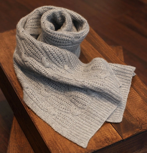 Large Braided Cashmere Cold Weather Scarf Light Grey