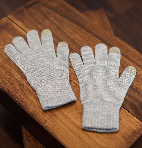 Touchscreen 100% Cashmere Gloves Light Grey